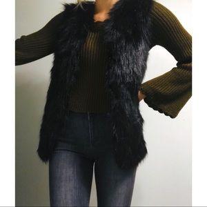 Jackets & Blazers - Faux Fur & Crotchet Sweater Vest